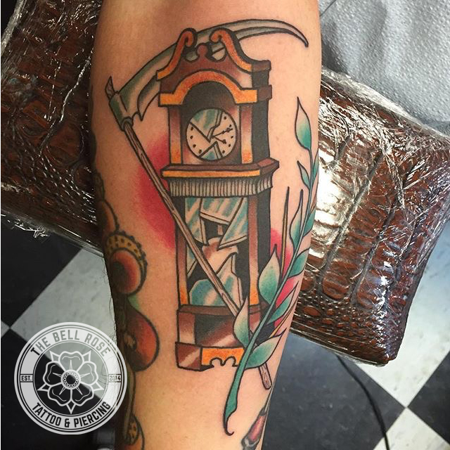 grandfather clock face tattoo. ajludlowgrandfatherclockthebellrosetattoo grandfather clock face tattoo a
