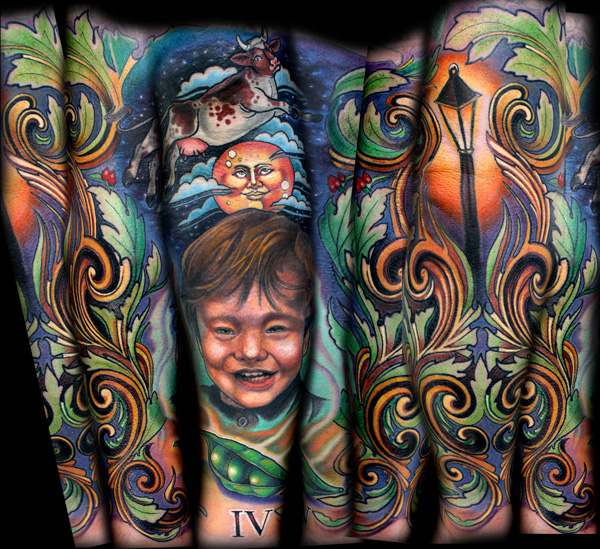 Michael's right forearm that I tattooed.  We started with a portrait of Michael smiling, along with three peas in a pod signifying their family.  The cow jumping over the moon and the street light were both from Michael's favorite children's book.