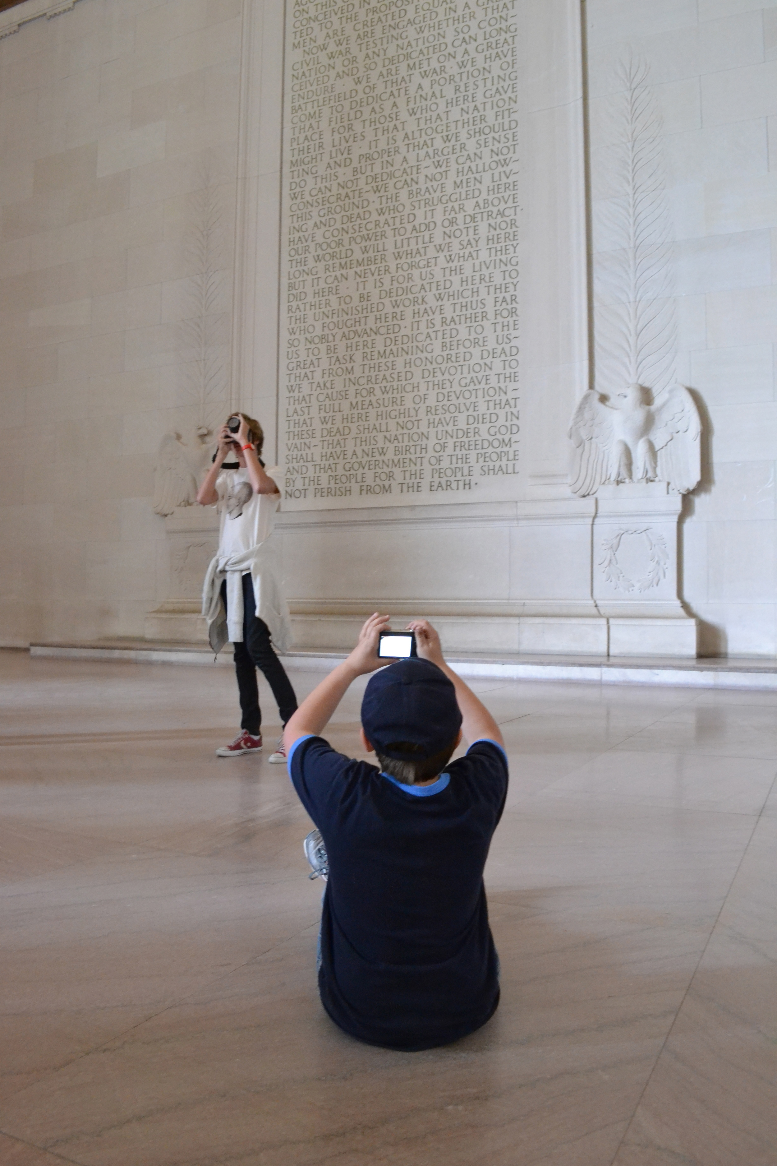 Two Kids at Lincoln Memorial