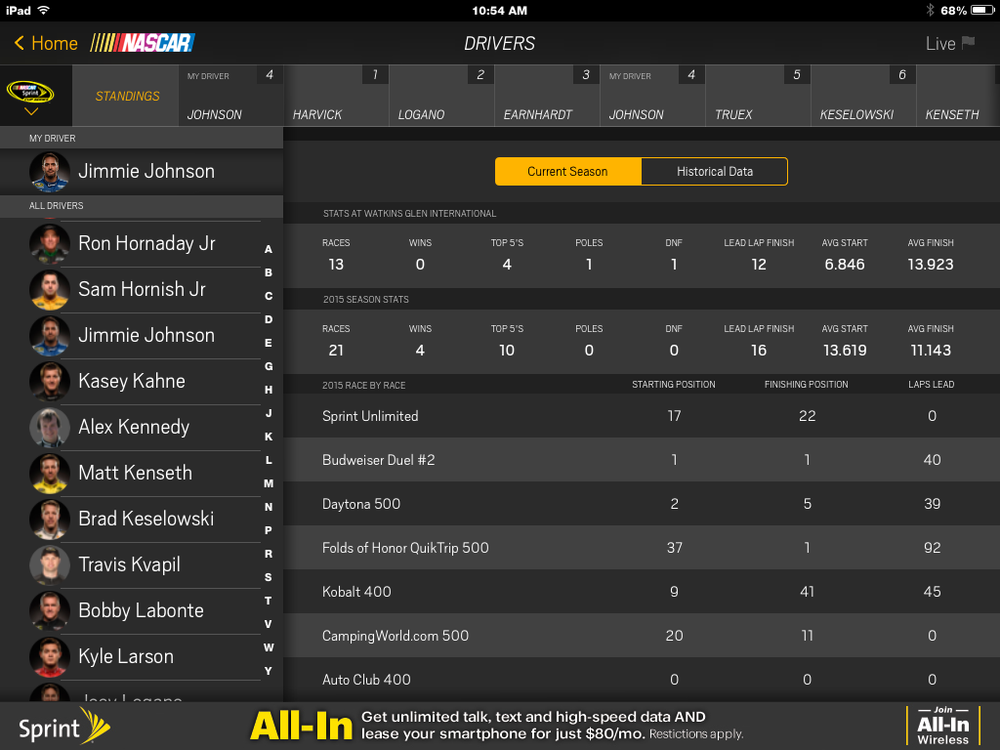NASCAR Screen Shot Jimmie Johnson Stats.png