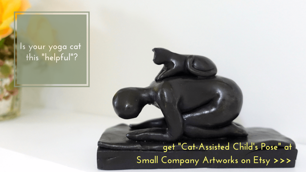 Yoga cat sculpture gifts from Small Company Artworks