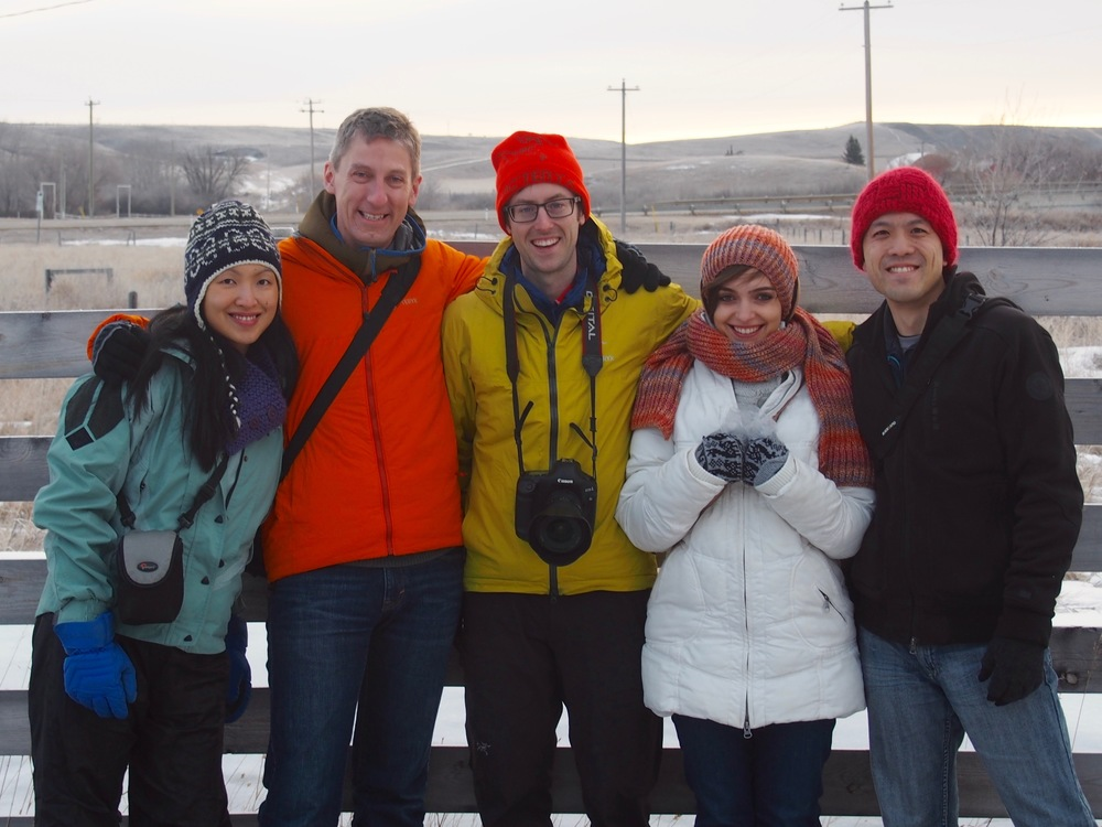 """The """"Project Icarus"""" team (Elaine, Nathan, William, Faina, and Joming) in Carbon, Alberta, prior to launch."""