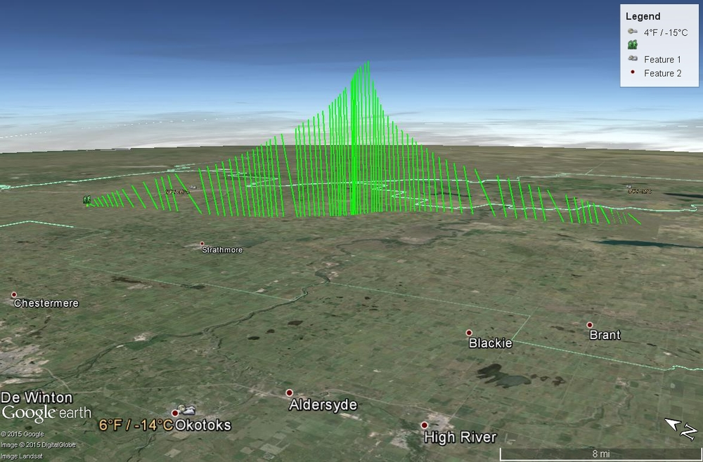 Flight path taken by the balloon through the skies of Southern Alberta. Left side is ascent; right is descent.