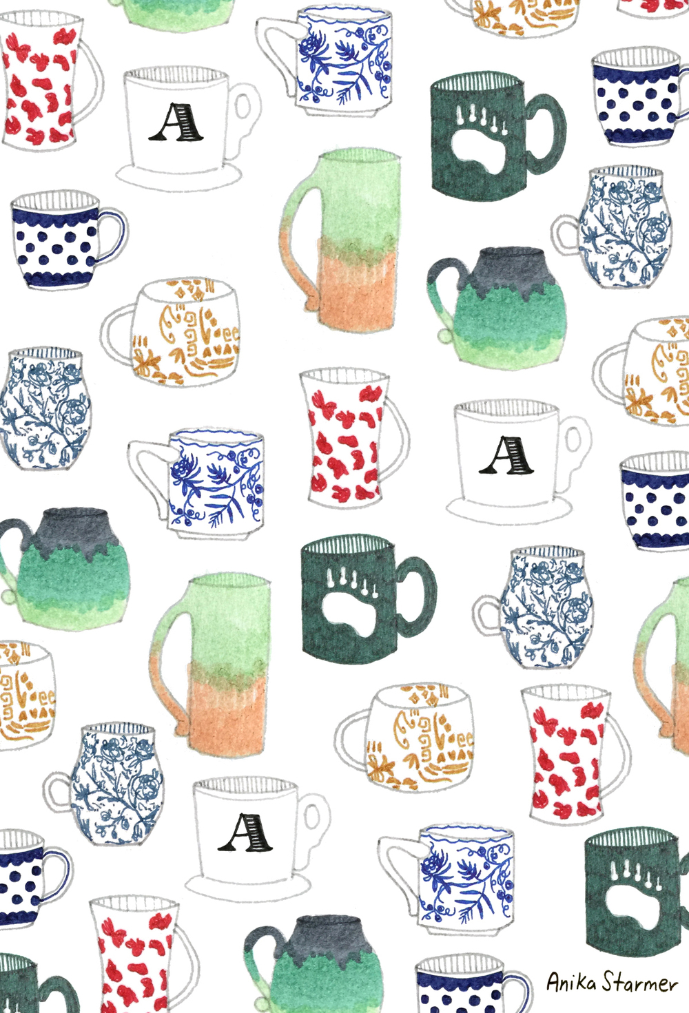 Mug Collection from #patternjanuary ©anikastarmer