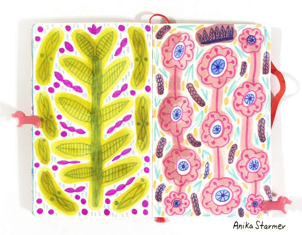 Another sketchbook, love the patterns playing off each other and those adorable pink dachshund clips! ©anikastarmer