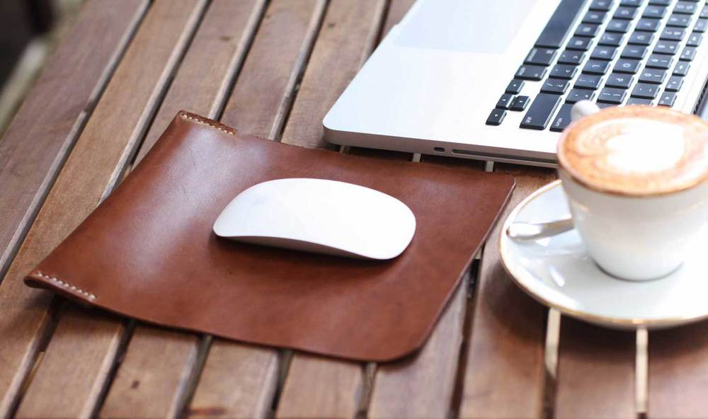 coffee brown leather mouse pad