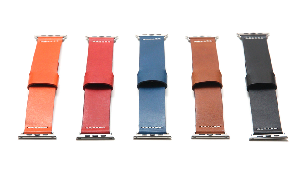 Apple Watch leather bands in different colors