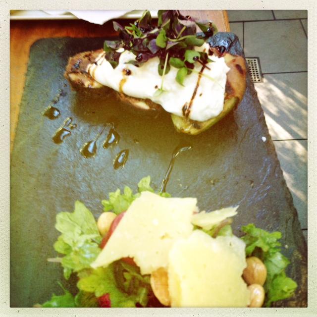 Grilled Prosciutto-Wrapped Dates w/Mozzarella, Kale Salad with Parmesean