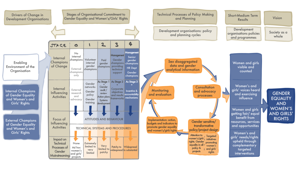 Theory of Change.   This diagram sets out the relationship between the 3 components of gender mainstreaming: organisational commitment, technical processes and vision and results.
