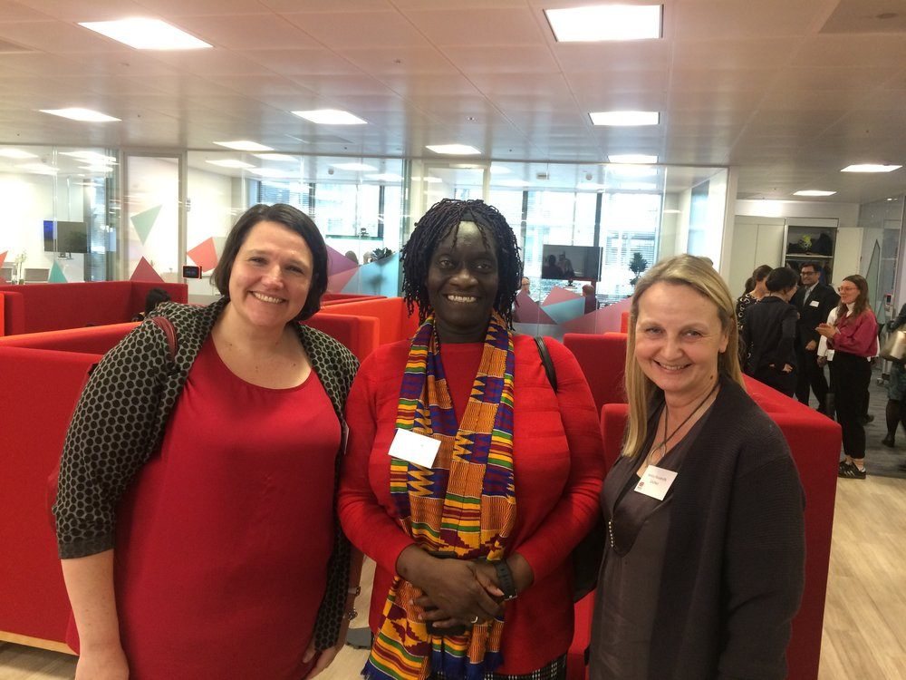 Lee Webster, GADN Chair, Theo Sowa, CEO, African Women's Development Fund, Jessica Woodroffe, GADN Director, at the launch of DFID's Strategic Vision for Gender Equality, March 2018