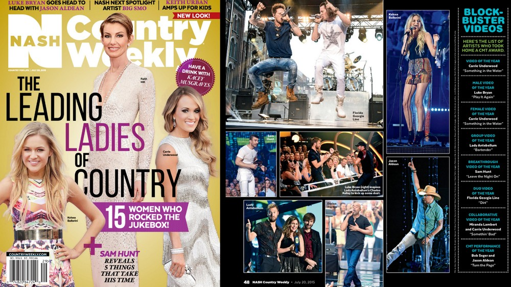 July 2015,  Country Weekly : Kelsea Ballerini CMT Awards performance look featured.