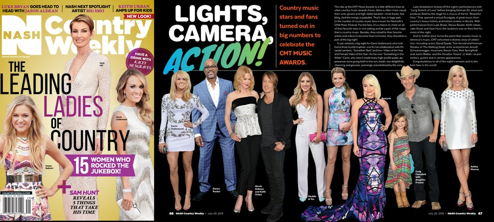 July 2015,  Country Weekly : Maddie and Tae CMT 2015 Red Carpet looks featured.