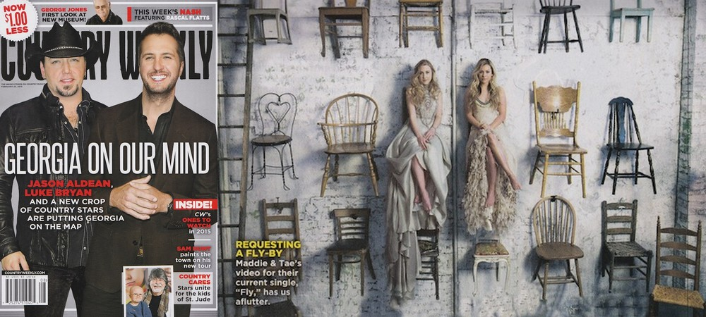 "February 2015,  Country Weekly : Maddie and Tae's ""Fly"" video looks featured."