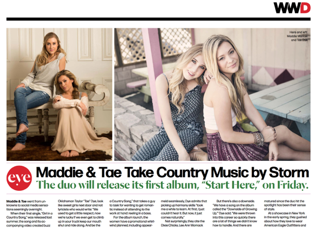 Maddie and Tae in WWD.  2015  (photo on the left)