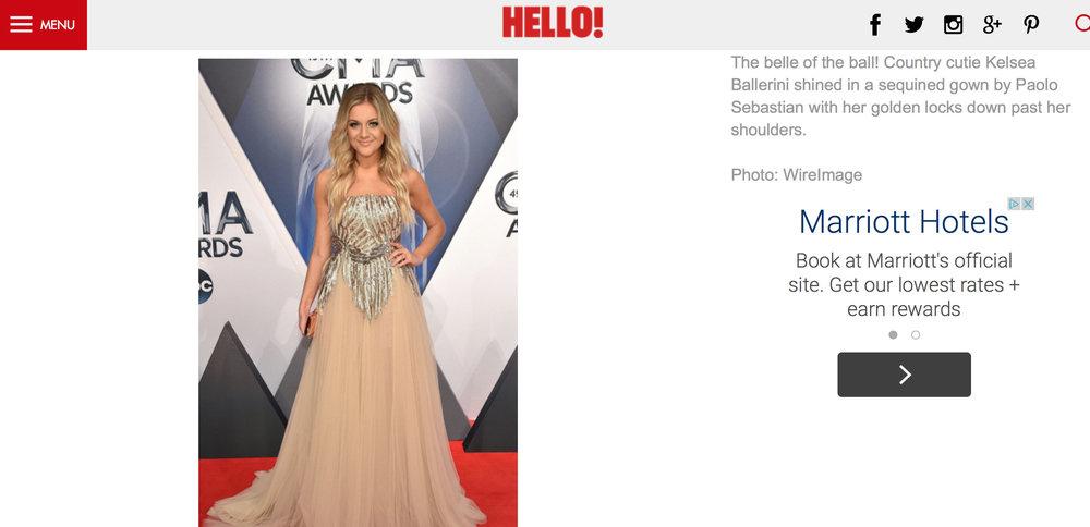 Hello! Magazine, 2015. Kelsea Ballerini Best Dressed, CMA Awards 2015