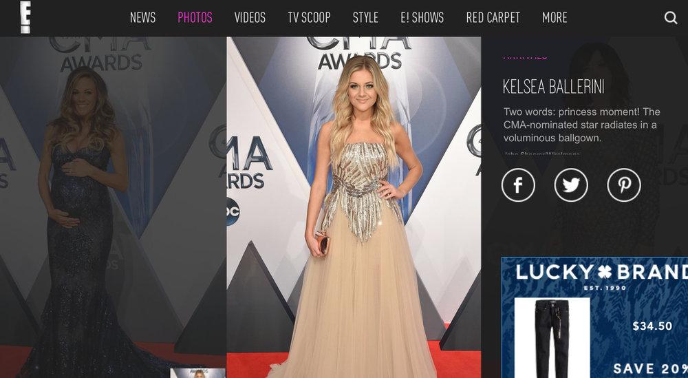 "E! Online, 2015. Kelsea Ballerini ""Princess Moment.... Radiates.."" CMA Awards 2015"