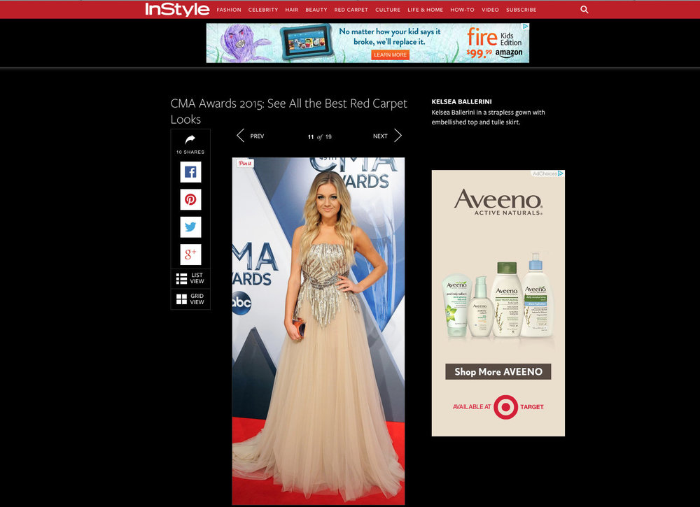 InStyle Magazine, 2015  Kelsea Ballerini CMA Awards, Best Dressed.