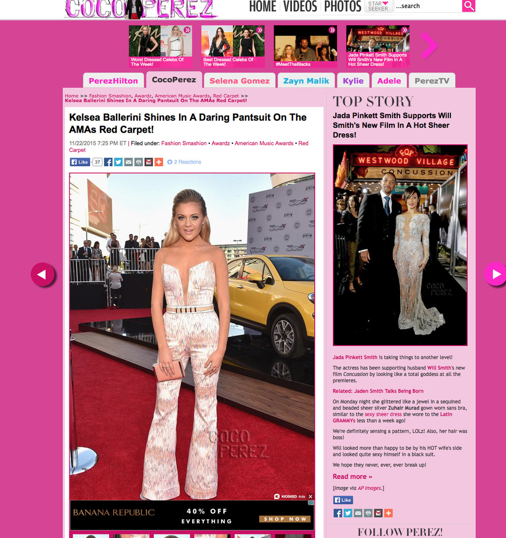 "Perez Hilton, AMA Awards 2015, Best Dressed.    ""This risk totally paid off!  Kelsea Ballerini    may not be known as a fashion icon just yet, but her latest awards show look might be her best red carpet performance ever!"""