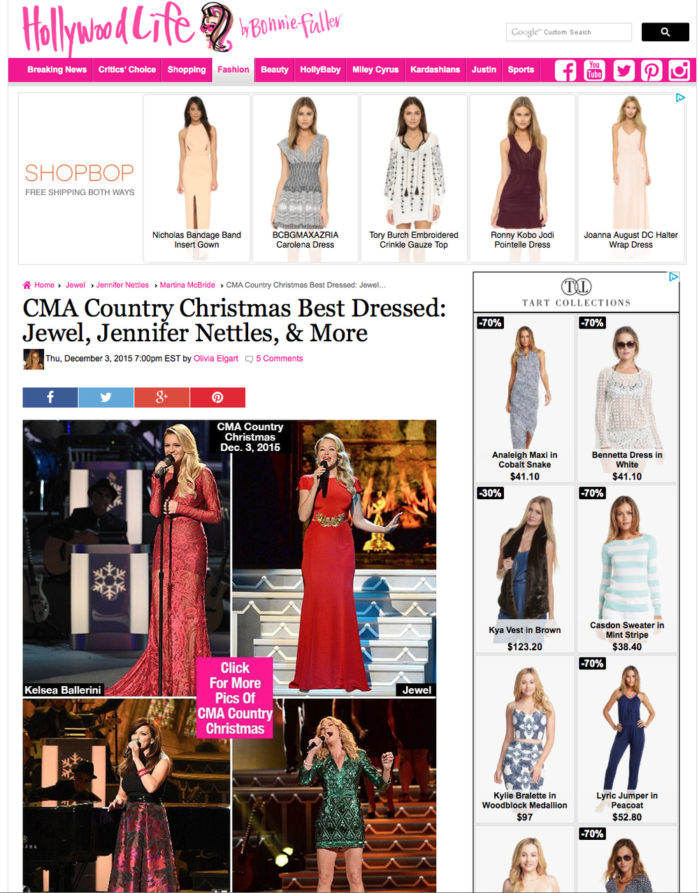 """Next up, Kelsea, who literally stole the show in a red,long-sleeve lace gown which featured a mini slip underneath a long sheer overlay that was completely see through, showing off her toned legs! We are also obsessed with the long running train of the dress.""  -- Hollywood Life, 2015"
