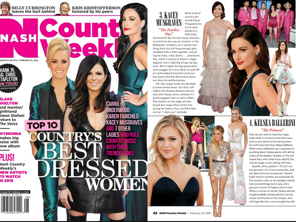 Country Weekly, 2016. Top 10 Country's Best Dressed Women, #4. Kelsea Ballerini.