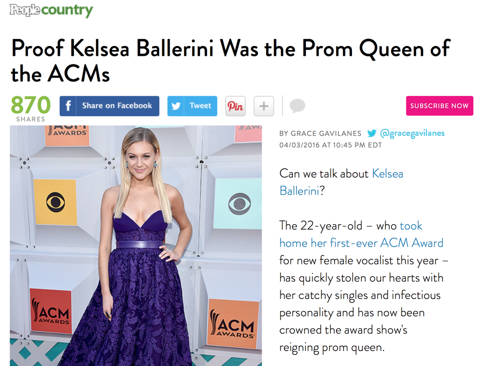 "People.com, 2016, Best Dressed ACM Awards.  ""Bow down! Can you say flawless? Also, purple = royalty. Prom queen, FTW."""