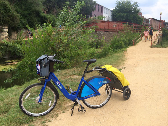 My entry onto the C&O Canal Towpath in Georgetown. This bike is going to get dusty!