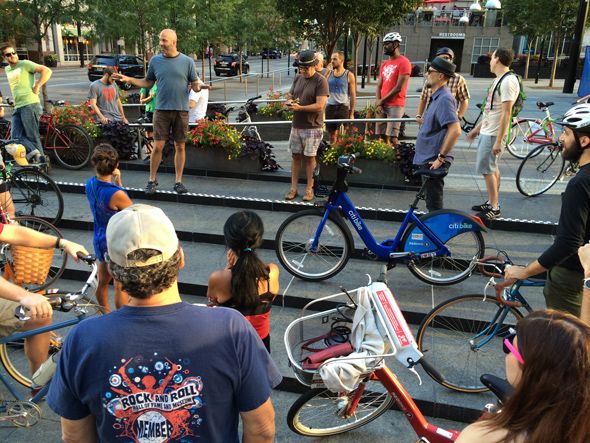 Pre-ride group meeting in Fountain Square