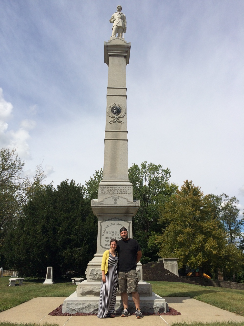 My wonderfully generous hosts Beth and Forrest at President Zachary Taylor's grave in Louisville.