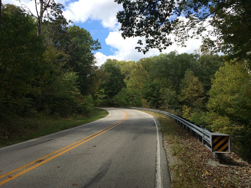 A typical stretch of Indiana 62. This hill proves easy to climb.