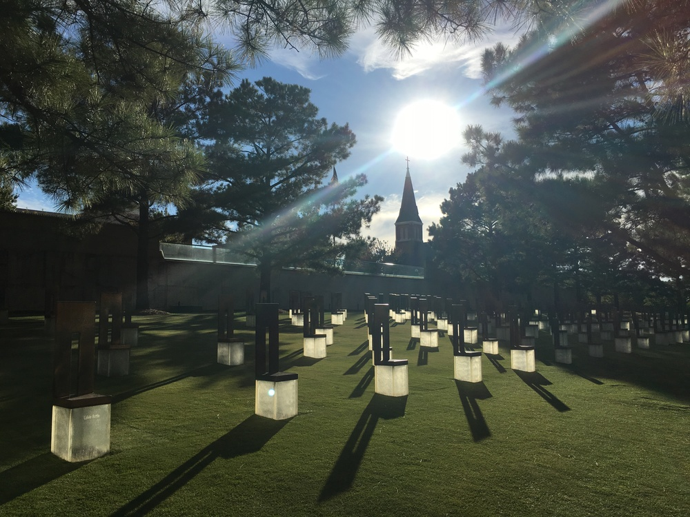 Chairs symbolize lives lost at the OKC bombing memorial. Small chairs denote a child.