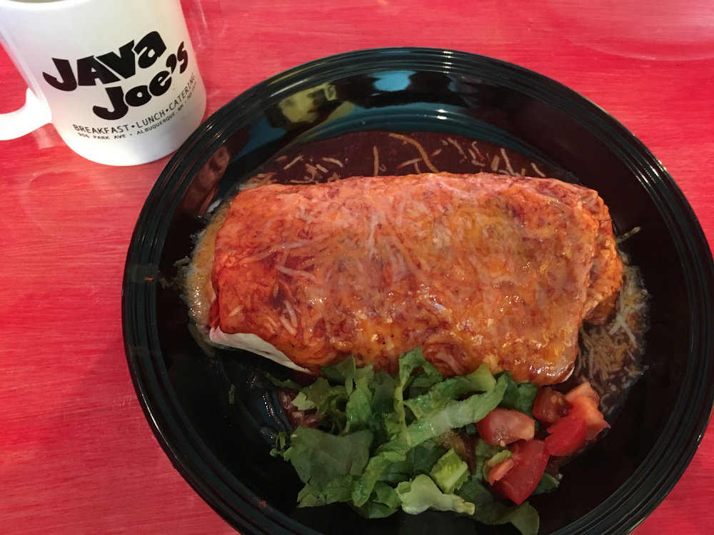 Breakfast burrito at Java Joe's, a building featured in Breaking Bad as Tuco's headquarters.