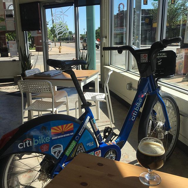 A few of my favorite things: a rogue #citibike · cold brew on nitro from @fairfellowcoffee · @historickwms neighborhood · that #Tulsa sunshine