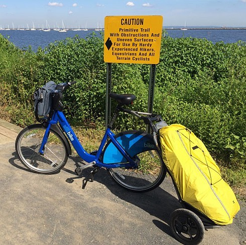 2 years ago today I rolled away. This is the first photo I took when I got to NJ. So fresh, so clean! And sooo many miles to go.  #bikeshare #citibike #bikenyc #bikeadventure #crosscountry #burleytrailer #jerseyaintsobad #followyourdreams