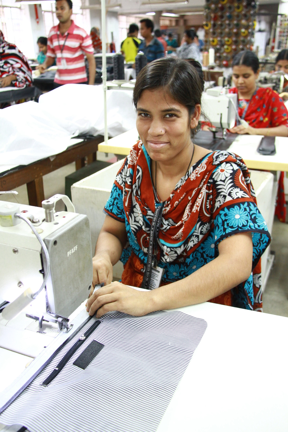 A female operator in the sewing section.