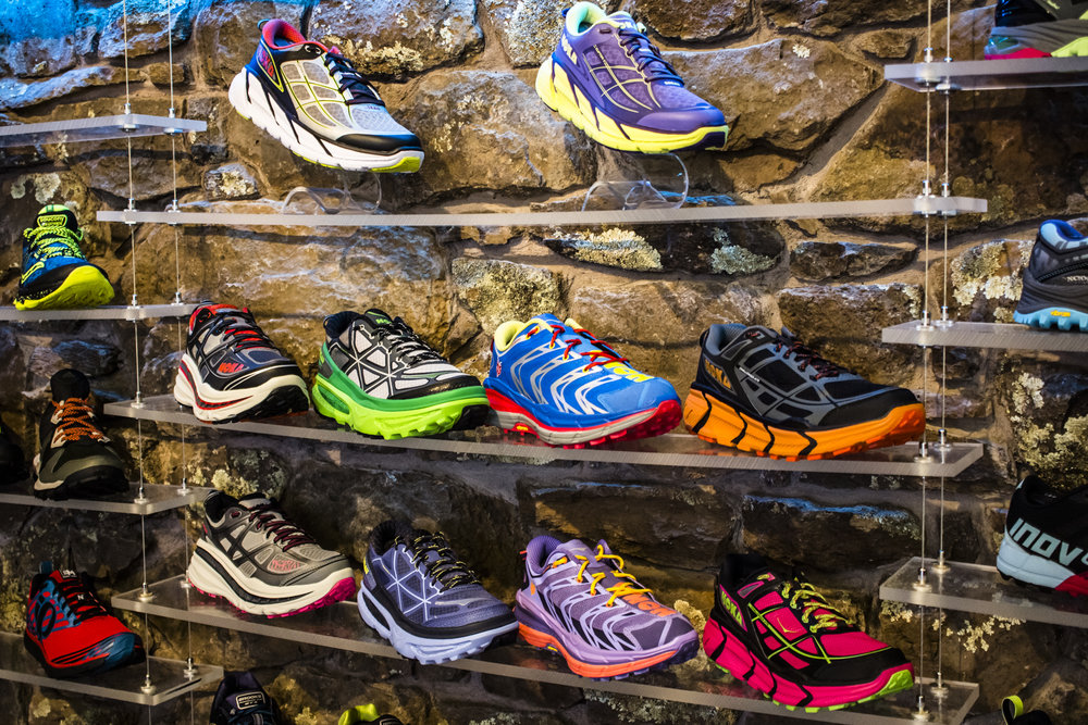 HOKA One One display in Run Flagstaff - Flagstaff, AZ
