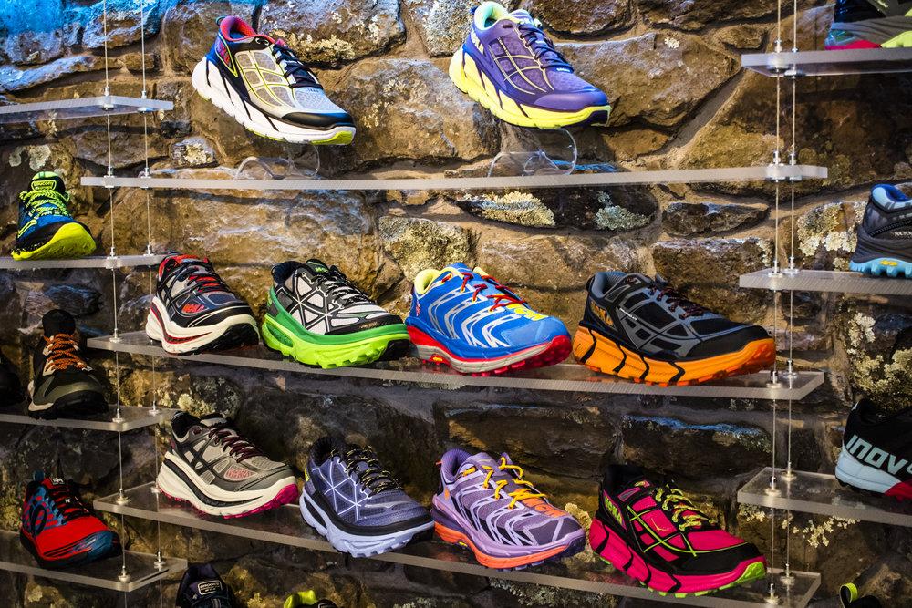 HOKA One One display in Run Flagstaff - Flagstaff, AZ
