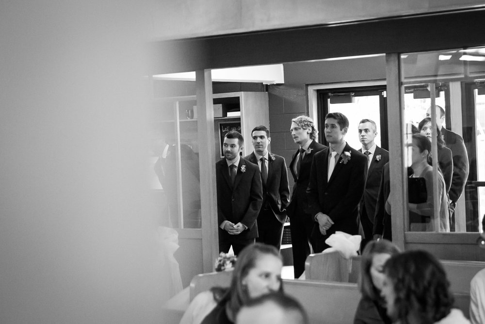 Seattle Community Church Wedding Photography | By G. Lin Photography | Groomsmen waiting to enter