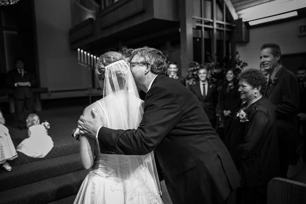 Seattle Community Church Wedding Photography | By G. Lin Photography | Dad kissing bride on cheek