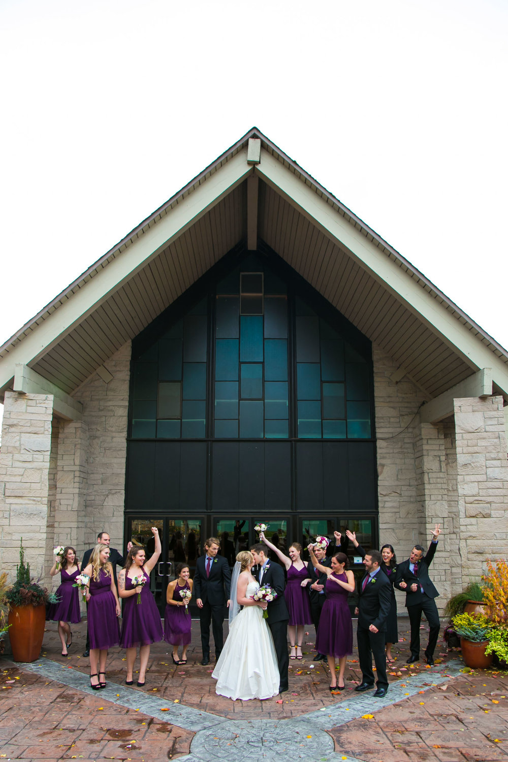 Seattle Community Church Wedding Photography | By G. Lin Photography | Fun wedding party photo