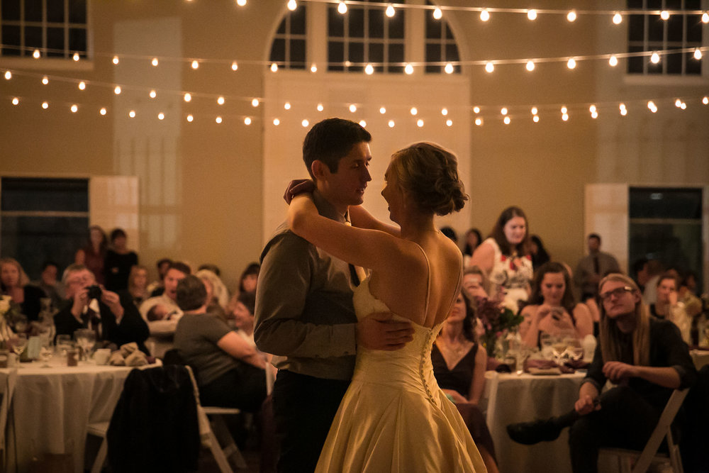 Intimate first dance with low lights | The Hall at Greenlake Wedding Reception Photo | By G. Lin Photography