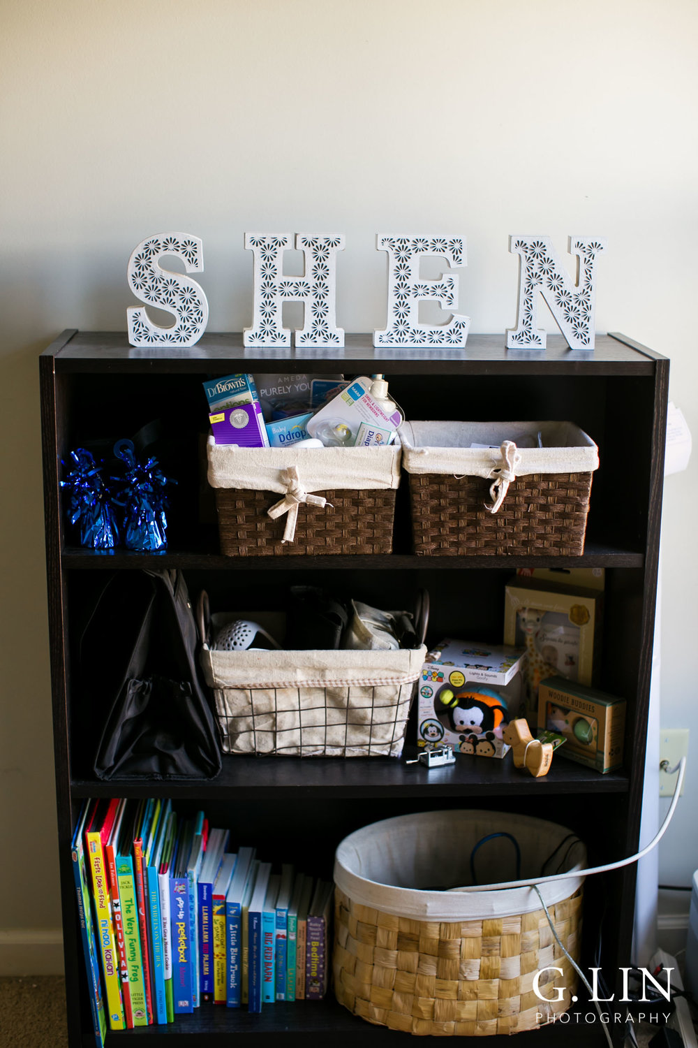 Durham Maternity Photography | G. Lin Photography | Images of baby items on shelf