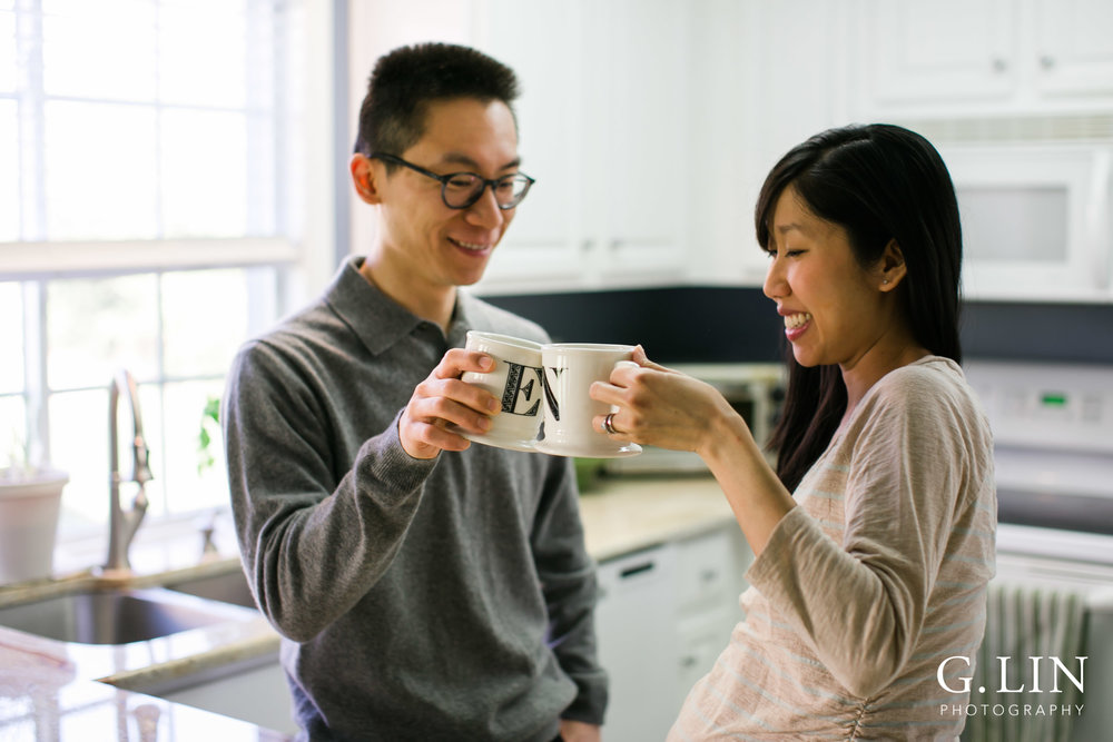 Durham Maternity Photography | G. Lin Photography | Couple drinking from mugs in kitchen