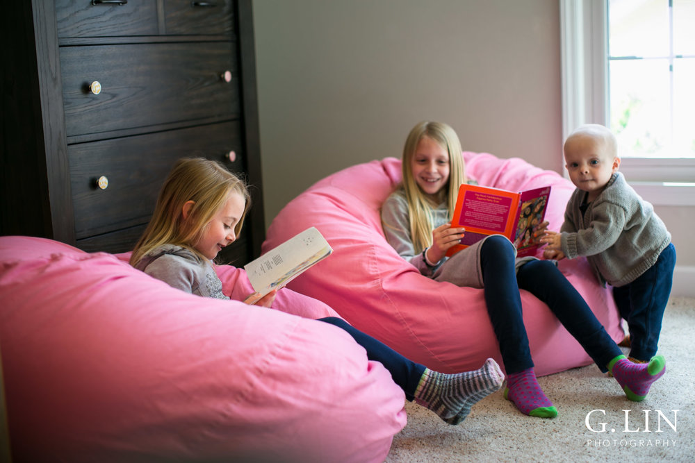 Raleigh Family Photographer | G. Lin Photography | Children sitting on bean bags and reading