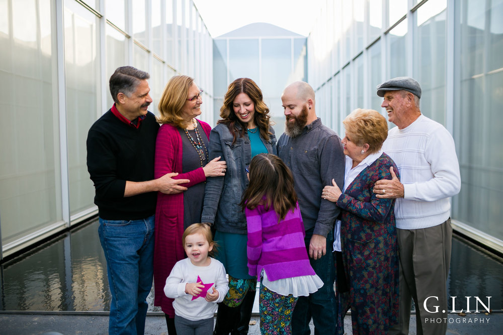 Raleigh Family Photographer | G. Lin Photography | Extended family in front of NCMA Building