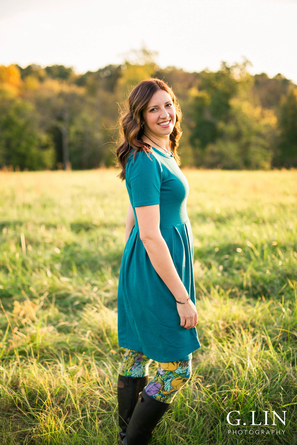 Gorgeous portrait shot of woman in dress in open field | Raleigh Family Photographer | G. Lin Photography