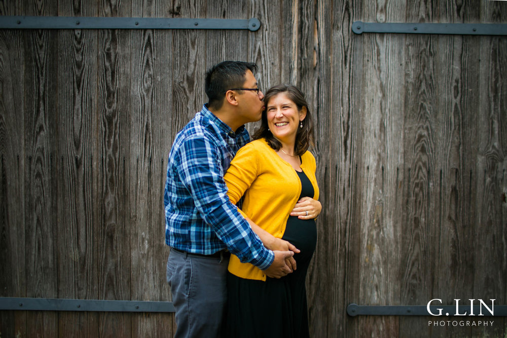 Durham Family Photography | G. Lin Photography | Husband kissing wife in park