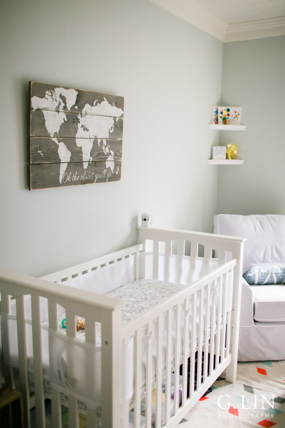 Durham Family Photographer | G. Lin Photography | Modern nursery with travel theme