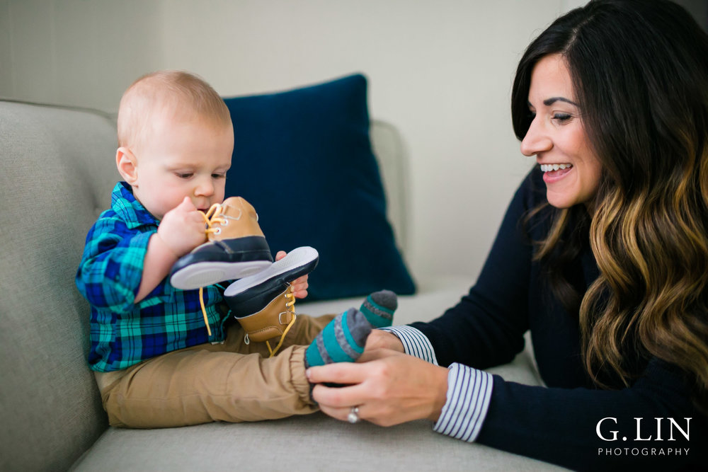 Durham Family Photographer | G. Lin Photography | mom putting shoes on baby boy