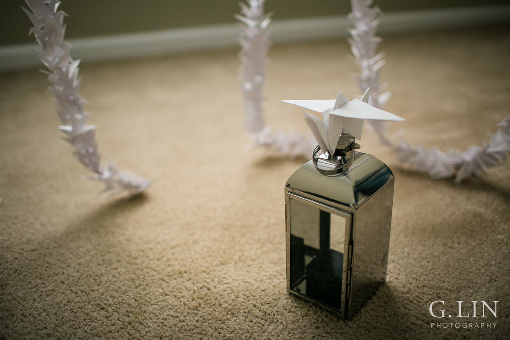 Paper crane on top of lantern | Raleigh Engagement Photographer | By G. Lin Photography