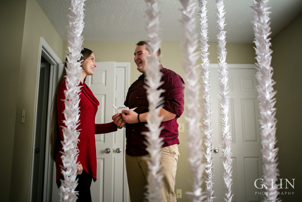 Paper Crane Surprise Proposal | Raleigh Engagement Photographer | By G. Lin Photography